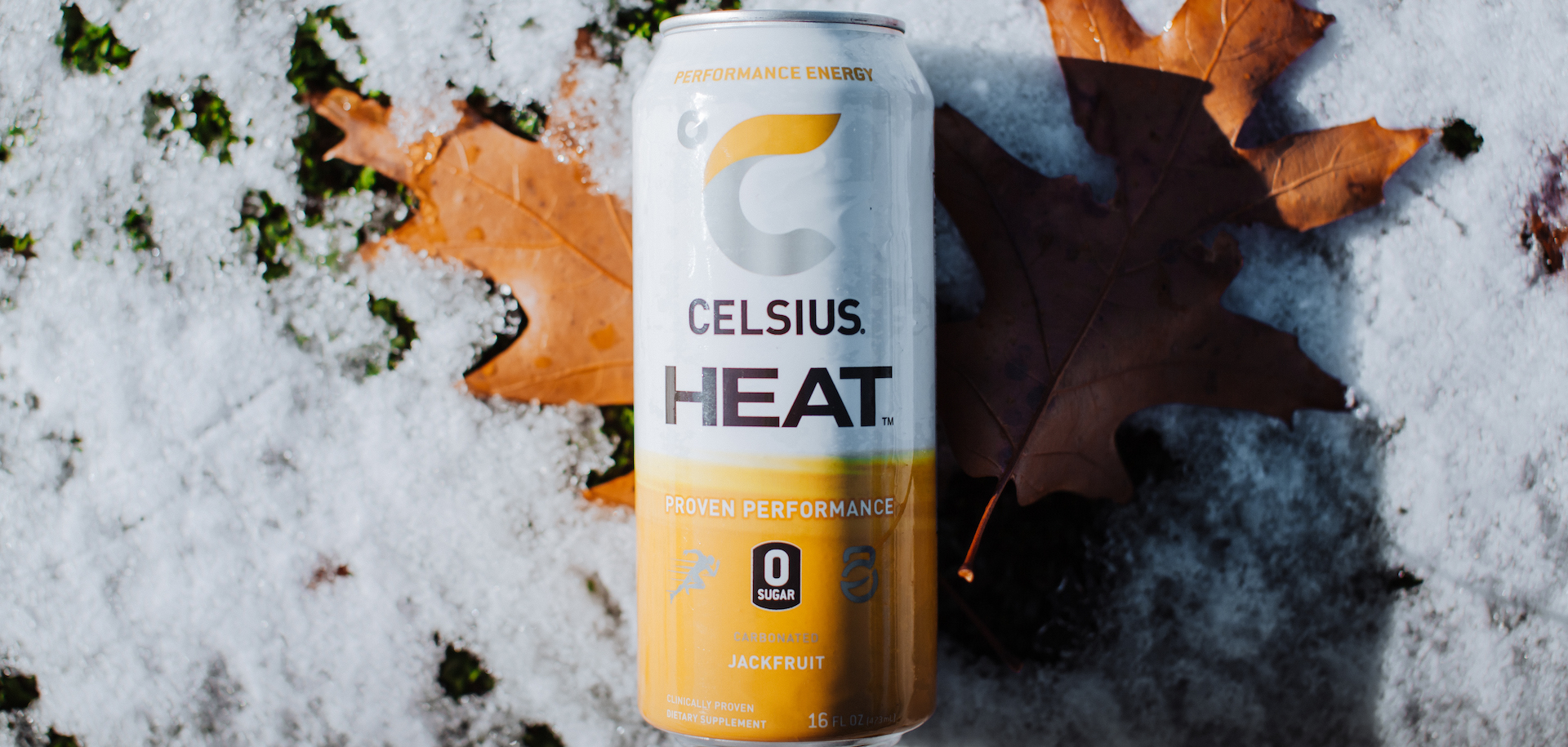 image of a jackfruit celsius heat can on a leaf and snow