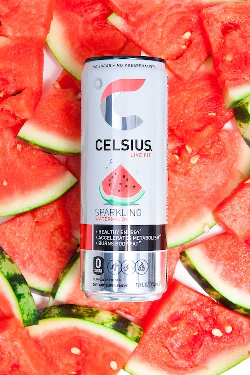image of a sparkling watermelon celsius can on top of watermelon wedges