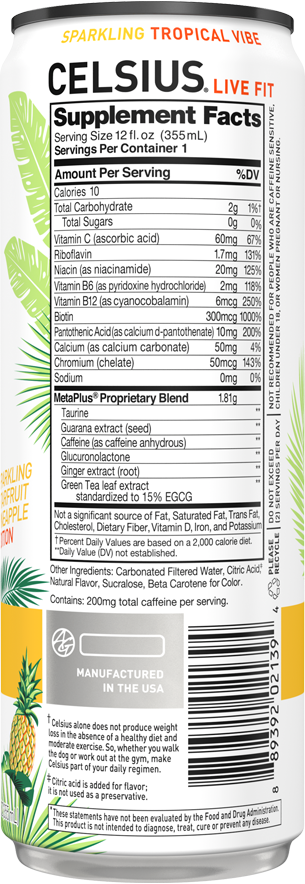 Sparkling Tropical Vibe – Product's Back Label
